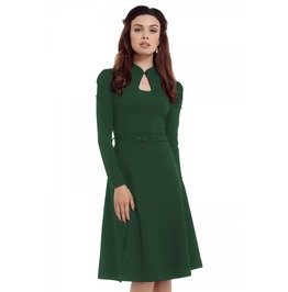 Voodoo Vixen Dita 50s Flared Green Dress With Cut Out