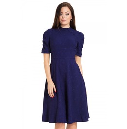 Voodoo Vixen Maribelle Blue Jaquard Dress