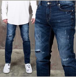 Distressed Washed Deep Blue Slim Denim Jeans 330