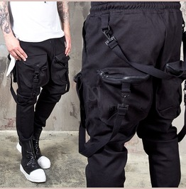 Belted Webbing 4 Pocket Black Bending Pants 177