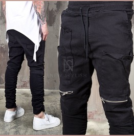 Distressed Wrinkled Black Bending Pants 178