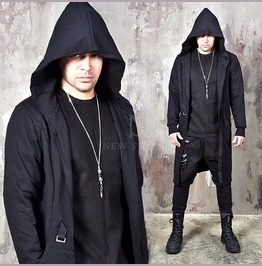 Distressed Cut Belted Hooded Long Cardigan 119