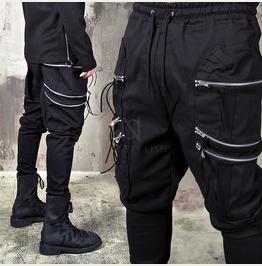 6 Zippered Big Pocket Black Bending Pants 176