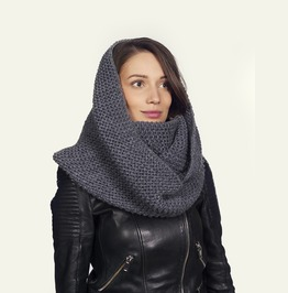 Knit Infinity Scarf, Grey Winter Scarf, Loop Scarf, Hand Knit Long Snood