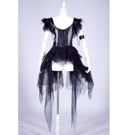 Gothic Black Lacy Dress With Feathers And Leather Arm Cuff For Women