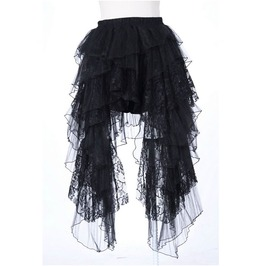 Gothic Black Layered Pleated Floral Lace Skirt For Women