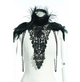 Gothic Black Beads And Feather Necklace With Dark Floral Details For Women