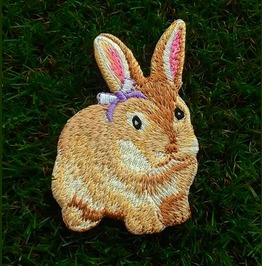 Wild Rabbit Embroidered Iron On Patch.