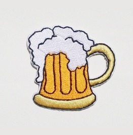 Beer Mug Embroidered Iron On Patch.