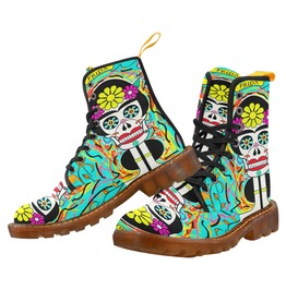 Funky Frida Kahlo Sugar Skull Women's Canvas Combat Boots