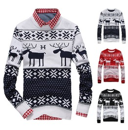 Ugly Christmas Deer Sweater Crewneck Long Sleeve Winter Pullover Men