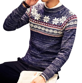 Snowflakes O Neck Slim Knitted Christmas Sweater Pullover Men