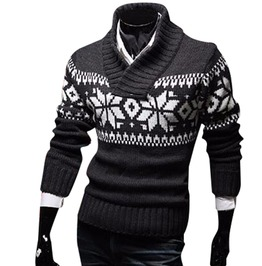 Snowflakes Collared Slim Knitted Christmas Sweater Pullover Men