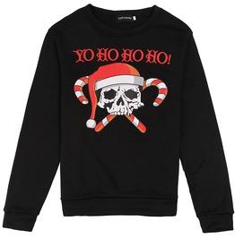 Candy Cane Skull Yo Ho Ho Ho! Ugly Christmas Men Pullover Sweater