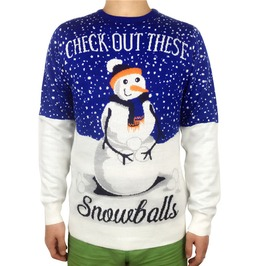 Check Out These Snowballs Snowman Knitted Ugly Christmas Sweaters Men