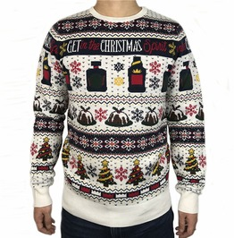 Funny Wine Beer Get In The Christmas Spirit Knitted Ugly Christmas Sweater