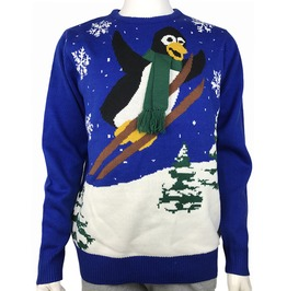 Funny Penguin Wearing Scarf Knitted Ugly Christmas Sweater Men