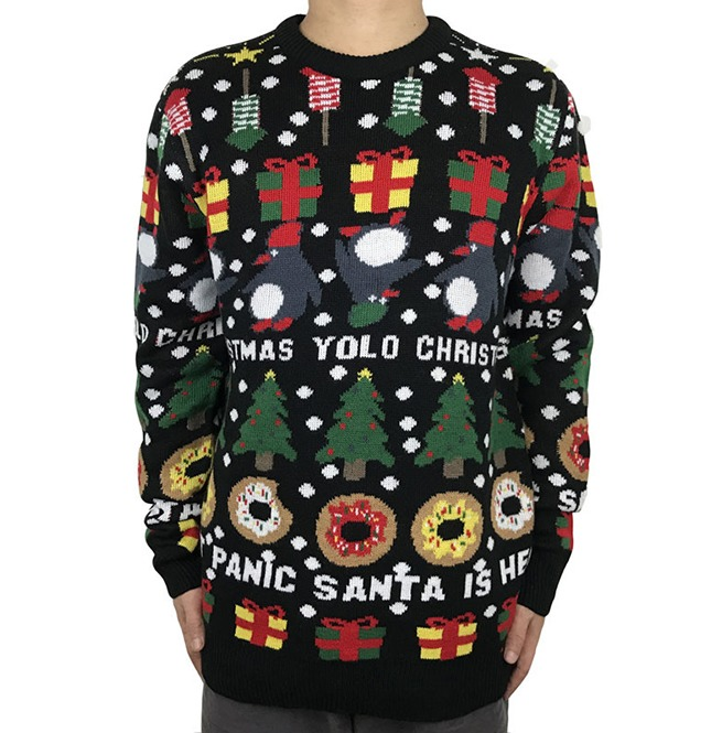 Christmas Sweaters For Men.Funny Yolo Donut Panic Santa Is Here Knitted Ugly Christmas Sweater Men