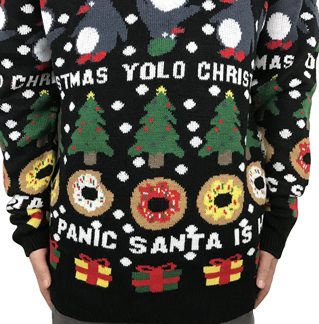 rebelsmarket_funny_yolo_donut_panic_santa_is_here_knitted_ugly_christmas_sweater_men_hoodies_and_sweatshirts_3jpg - Christmas Sweaters Men