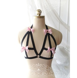Ddlg Daddys Girl Body Harness Baby Pink Bow Black Stretch Cage Bondage Bra
