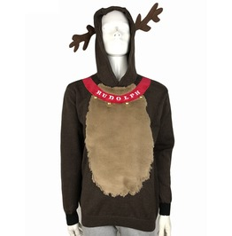 Rudolph The Red Nosed Reindeer Hooded Oversized Ugly Christmas Pullover