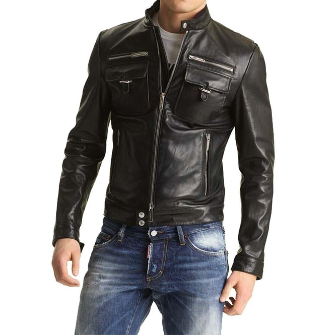 Mens Biker Leather Jacket Slim Fit Leather Jacket Mens Men Fashion