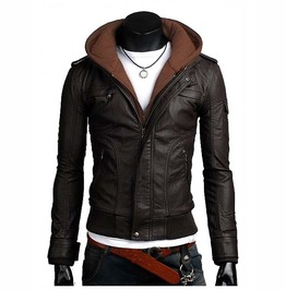 Men Brown Slim Fit Fabric Hooded Jacket, Men Leather Hooded Jacket, Hoodies