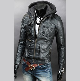 Men Detachable Fabric Hooded Leather Jacket, Biker Leather Jacket Mens
