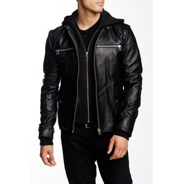 Men Black Detachable Fabric Hooded Leather Jacket, Biker Leather Jacket Men