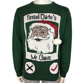 Funny Santa Claus Tinsel Date Knitted Flirty Ugly Christmas Sweater Men
