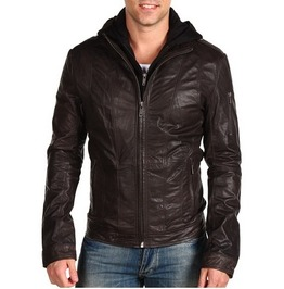 Men Brown Fabric Hooded Leather Jacket Men Brown Real Leather Jacket