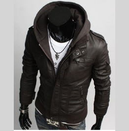 Men's Leather Jackets Korean Style Casual Slim Fit Men Fabric Hooded Jacket