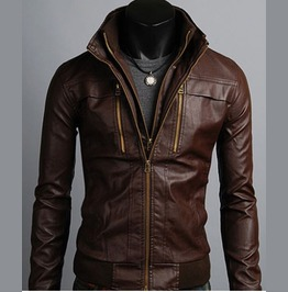 Men's Leather Jackets Korean Style Casual Slim Fit Biker Leather Jacket Men