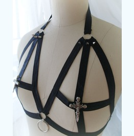 Daddys Girl Body Harness Black Skull Cross O Ring Spikes Stretch Cage Bra