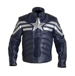 New Padded Motorcycle Captain America Winter Soldier V2 Real Leather