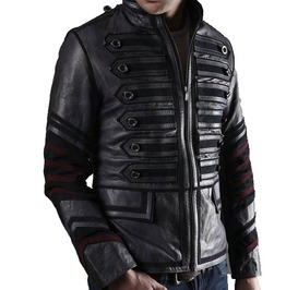 Men Black Military Leather Jacket Men Military Style Jacket, Leather Jacket