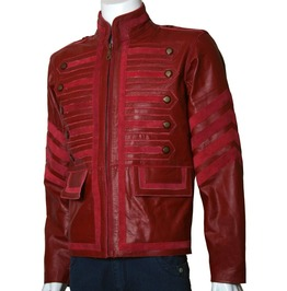 Men Maroon Military Leather Jacket Men Military Style Jacket,Leather Jacket