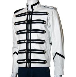 Men White Military Leather Jacket Men Military Style Jacket,Leather Jacket