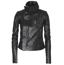 Women Black Wide Collar Leather Jacket, Women Fashion Leather Jacket