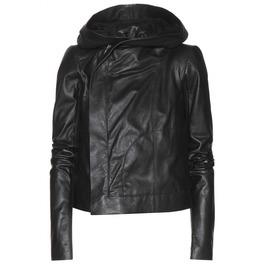 Women Hooded Leather Jacket, Women Leather Jacket, Women Black Jacket