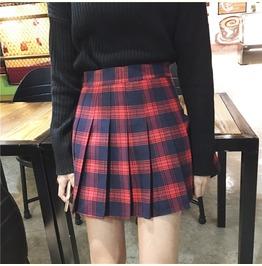Goth Plaid Check Pleated Skirt Preppy Red White B2237