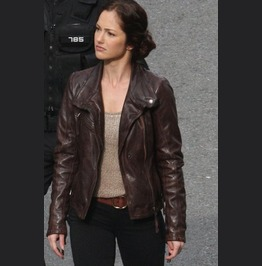 Minka Kelly Lovely Brown Biker Leather Jacket, Women's Fashion Jackets