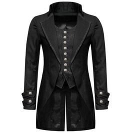 Black Gothic Gentleman Steampunk Fake Tailcoat Jacket