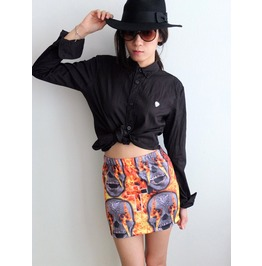 Skull Ghost Rider Hot Rock Chic High Fashion Mini Skirt