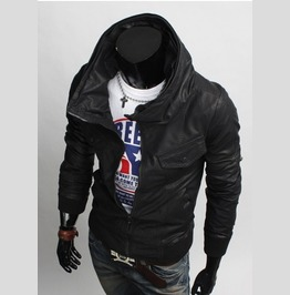 Men Korean Style Hooded Leather Jacket, Men Slim Fit Leather Jacket