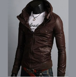 Men Korean Style Hooded Brown Leather Jacket, Men Slim Fit Leather Jacket