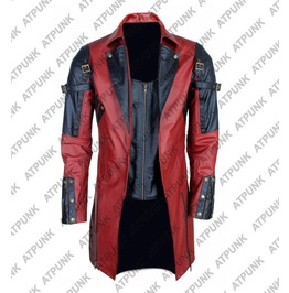 Men Goth Steampunk Military Jacket Red Black Faux Leather Poison Jacket