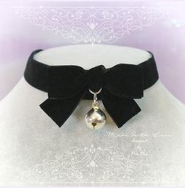 Choker Necklace Black Velvet Bow Bell Neko Neck Collar , Pastel Goth
