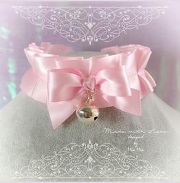 Bdsm Kitten Play Princess Cat Collar Choker Necklace Baby Pink Bow Ring