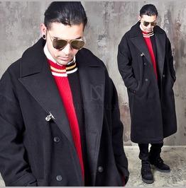 Clip Accent Oversized Big Collar Long Coat 151